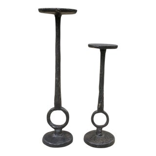 Vintage Wrought Iron Candle Holders - a Pair For Sale