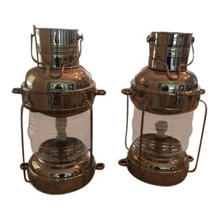 Contemporary Pottery Barn Nautical Chrome & Glass Table Lamps - a Pair
