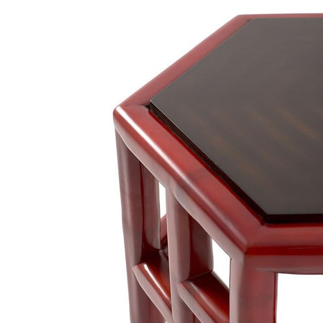 Red Bamboo Hex Side Table - Image 3 of 3