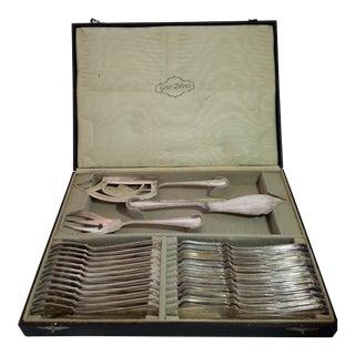 1920s Gero Silver Fish Fork, Knife, Server & Table Service Fork & Knife - Set of 27 For Sale