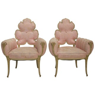 Grosfeld House Flower Back Chairs in Pink Brocade, 1940's For Sale