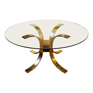 20th Century Hollywood Regency Mastercraft Brass Glass Top Dining Table Attr. Osvaldo Borsani For Sale