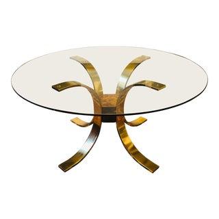 20th Century Hollywood Regency Mastercraft Brass Glass Top Dining Table Attr. Osvaldo Borsani Base