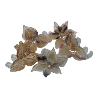 Mid 20th Century Murano Glass Flowers - Set of 5 For Sale