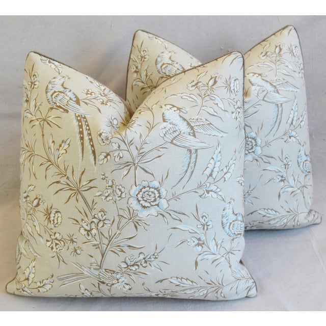 """Cotton Scalamandre Aviary & Velvet Feather/Down Pillows 21"""" Square - Pair For Sale - Image 7 of 13"""