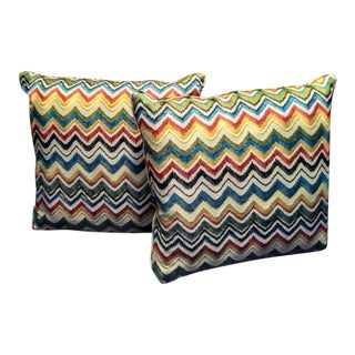 A Pair Colorful Chevron Throw Pillows in the Missoni Style For Sale