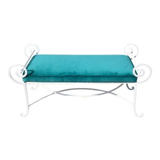 Vintage Velvet Upholstered White Iron Bench