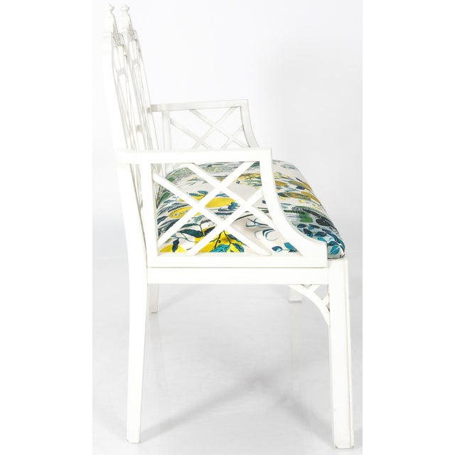 Linen White Chinoiserie Pagoda Motif Newly Upholstered Settee For Sale - Image 7 of 11