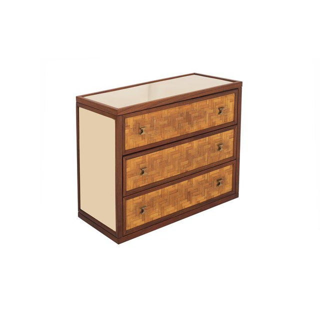 Harvey Probber Italian Glam Sideboard in Rattan, Teak and Brass, 1970s For Sale - Image 4 of 8
