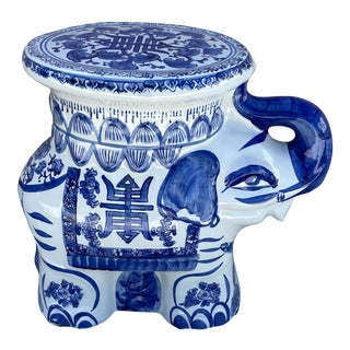 Chinoiserie Blue and White Ceramic Elephant Garden Stool For Sale