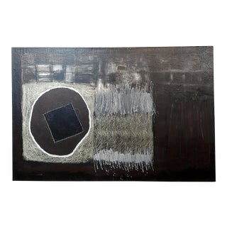 Industrial Abstract - Large Oil Painting on Canvas by Gladys Medina For Sale
