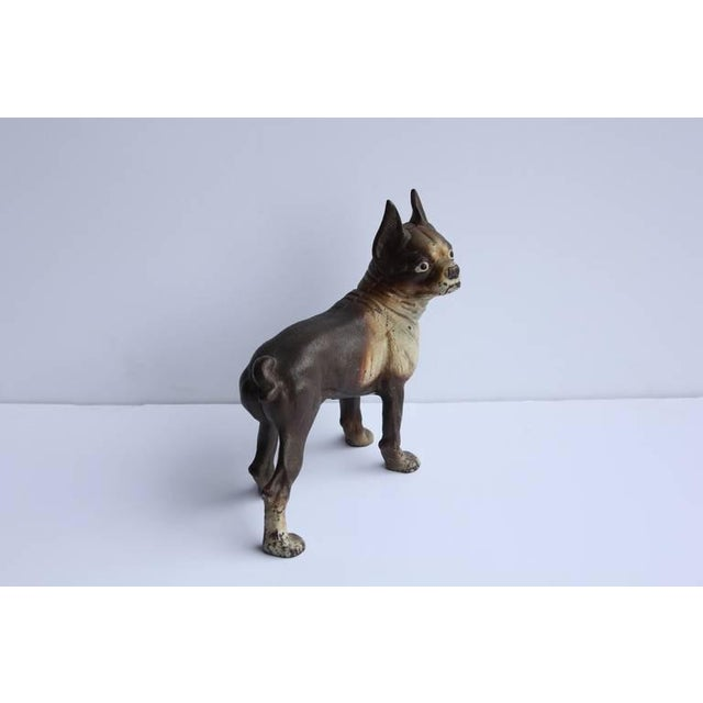 English Traditional Antique Cast Iron Boston Terrier Dog Doorstop For Sale - Image 3 of 6