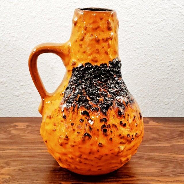 "Mid-Century Modern 1960s Kreutz Keramik Orange/Black Fat-Lava Jug Vase 201 (9.3"") For Sale - Image 3 of 13"