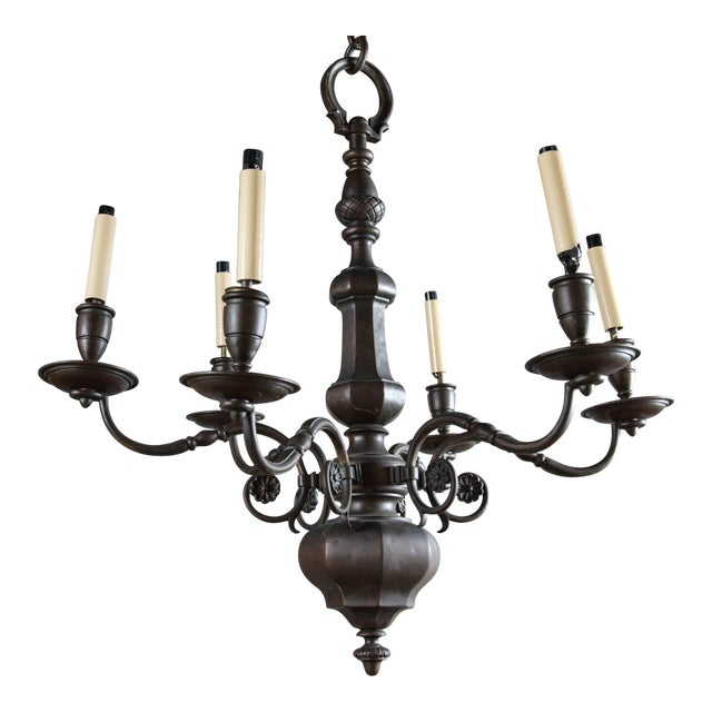 1900 Caldwell Brown Patined Bronze Six-Light Chandelier For Sale