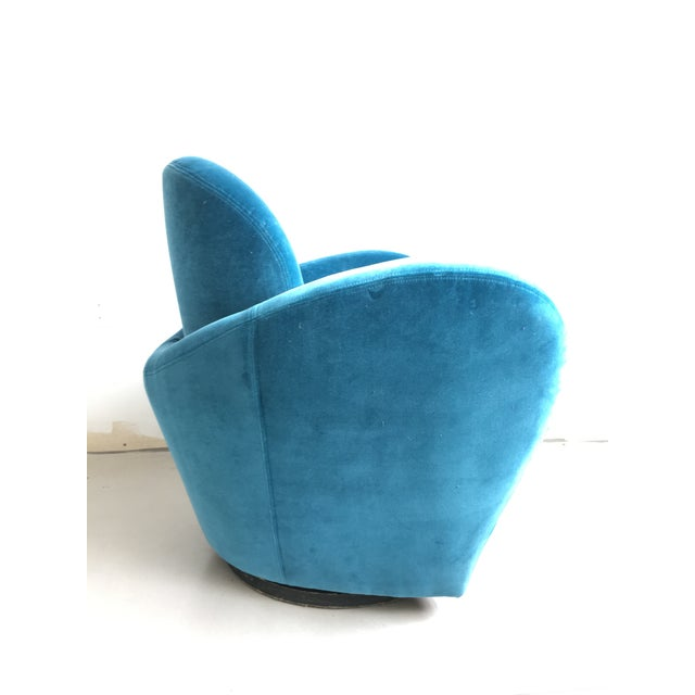 Vladimir Kagan Blue Velvet Wrap Around Swivel Chairs, a Pair For Sale - Image 5 of 8