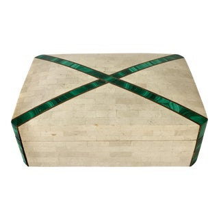 Tessellated Stone Box by Maitland Smith 1970s For Sale
