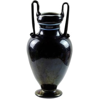 Antique Murano Metallic Black Iridescent Italian Art Glass Double Handle Vase For Sale