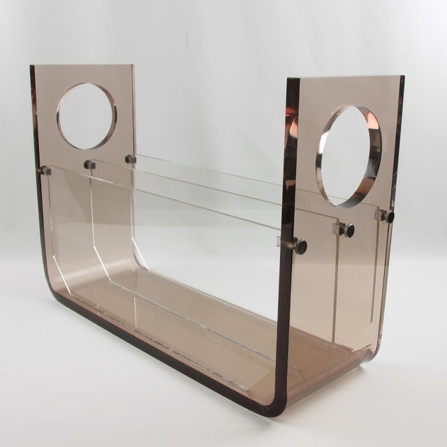 French Roche Bobois France 1970s Smoked Gray Lucite Magazine Rack Stand For Sale - Image 3 of 9
