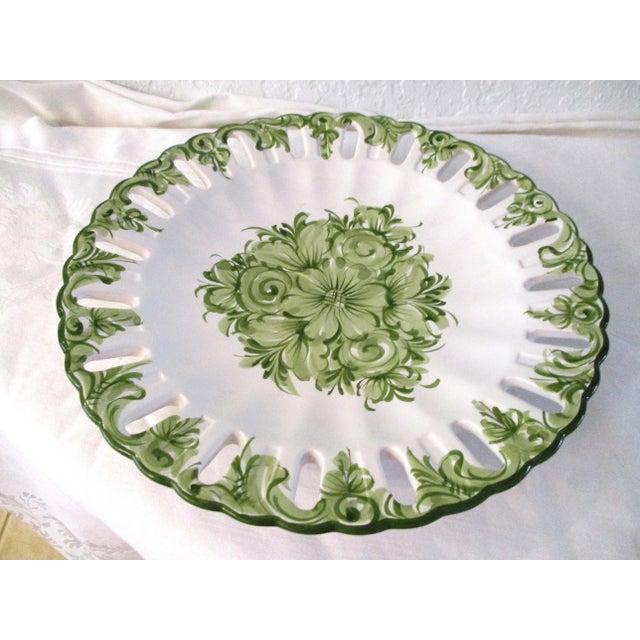 Cottage Vintage Portuguese Green Floral Serving Plate For Sale - Image 3 of 7