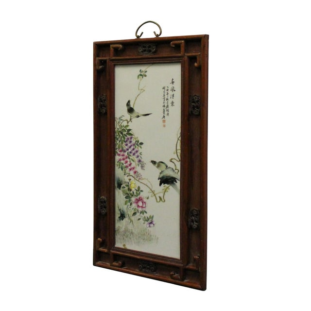 1990s Vintage Chinese Wood Frame Porcelain Flower Birds Scenery Wall Plaque Panel For Sale - Image 5 of 8