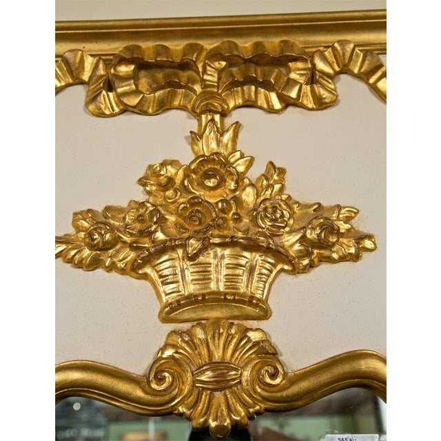 French French Louis XVI Style Painted and Parcel Gilt Trumeau Mirror Exquisite Detail For Sale - Image 3 of 7