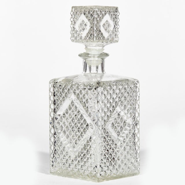 1960s Textured Square Glass Decanters, Pr For Sale - Image 4 of 7