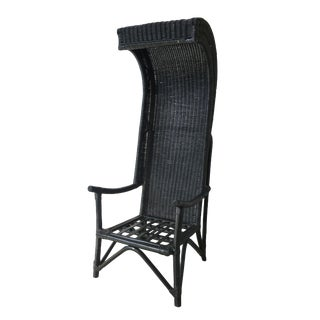 1960s Vintage Wicker Black Painted Chair For Sale