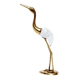 Italian Blown Glass & Brass Crane For Sale