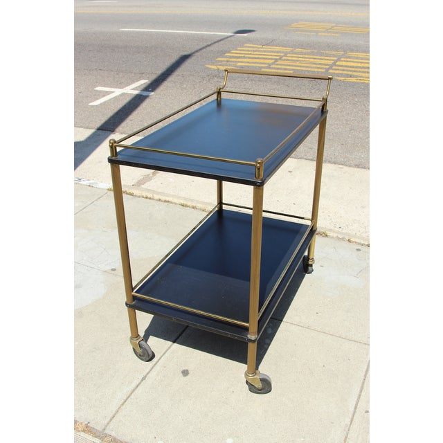 Art Deco Maxwell Phillip Brass Bar Cart With Black Shelves For Sale - Image 3 of 9