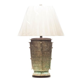 Lawrence & Scott Verdigris Bronze Eclipse-Class Table Lamp For Sale
