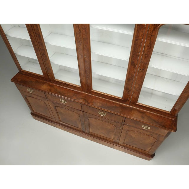 Antique English Burl Walnut Bookcase, Circa Late 1800s and Correctly Restored For Sale - Image 4 of 10