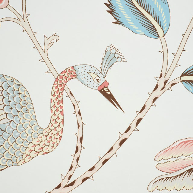 Contemporary Schumacher Campagne Wallpaper in Peacock & Rouge (8 Yards) For Sale - Image 3 of 5