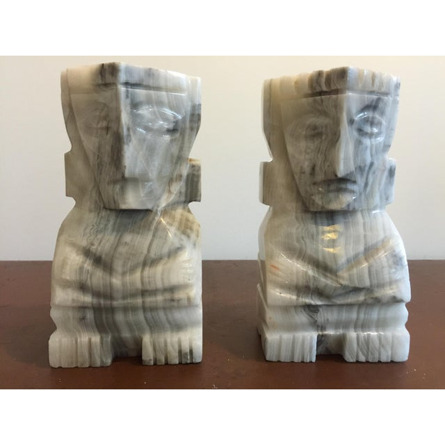 Large White Marble Tiki Bookends - Image 2 of 5