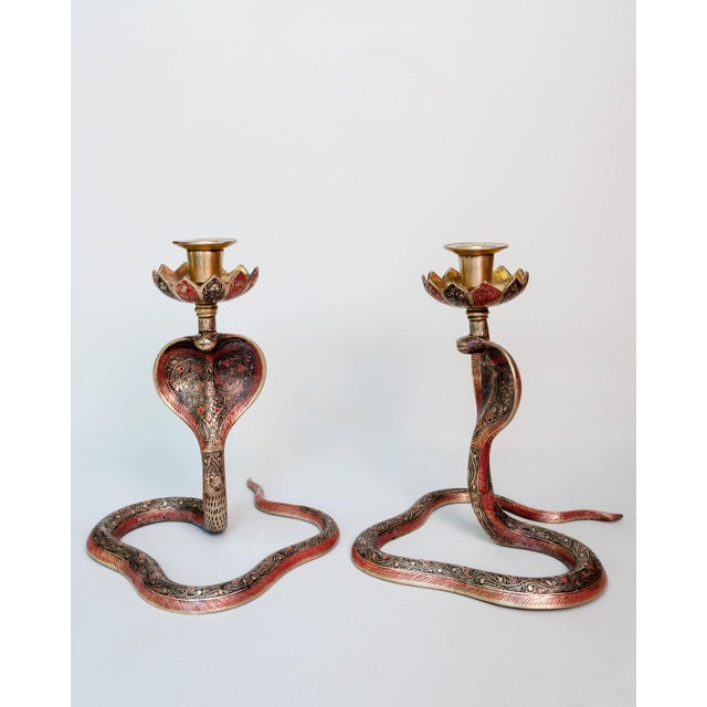 Hollywood Regency Brass Enameled Cobra Candle Holder - a Pair For Sale - Image 3 of 6