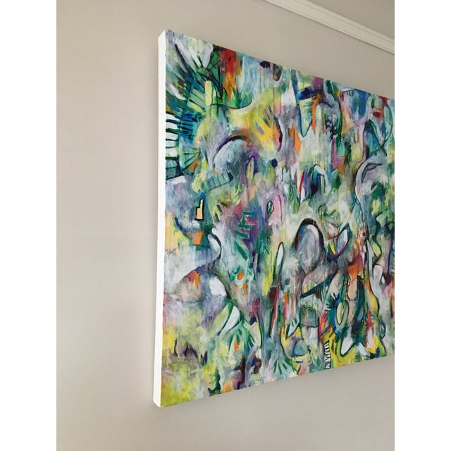"""Abstract """"White Makeup"""" Original Painting on Canvas For Sale - Image 3 of 5"""