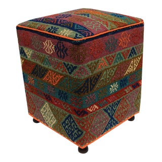 Boho Chic Haines Orange/Green Handmade Soumakh Upholstered Ottoman For Sale