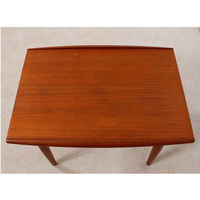 Grete Jalk Teak End Table with Raised Lip Edge For Sale - Image 7 of 9