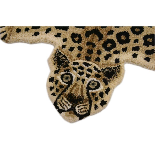 Boho Chic Contemporary Decorate Leopard Design Handcuffed Area Rug- 2′ × 3′ For Sale - Image 3 of 10