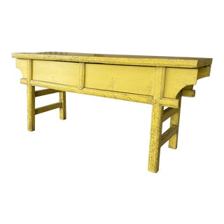 Chinoiserie Farmhouse Coastal Pagoda Yellow Distressed Console For Sale