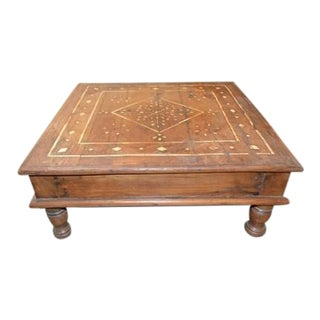 Vintage Indian Bone Inlay Tea Table For Sale