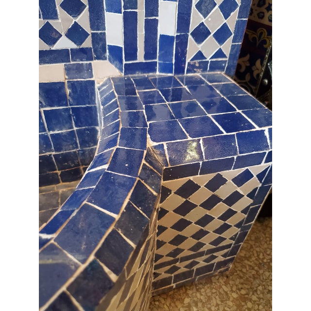 Moroccan White & Blue Moroccan Mosaic Fountain For Sale - Image 3 of 6