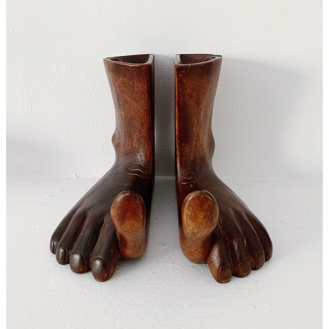 1960s Vintage Hand Carved Wooden Feet Sculpture - 2 Pieces For Sale - Image 9 of 9