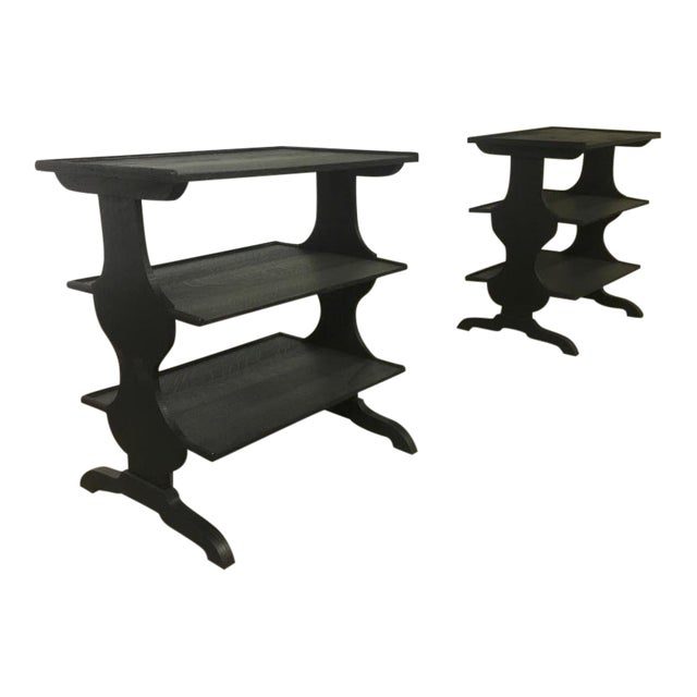 Pair of Rare J.M.Frank Attributed Black 3 Tier Side Tables For Sale