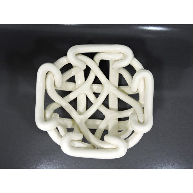 Abstract 20th Century Boho Chic Hand Crafted Open Weave Ceramic Cream Bowl For Sale - Image 3 of 7