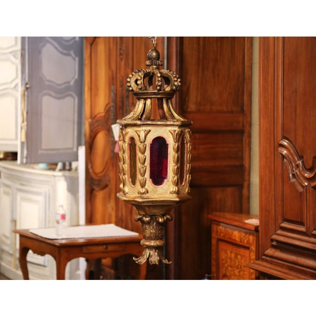 18th Century Italian Carved Giltwood Three-Light Lantern With Stained Glass For Sale - Image 9 of 13