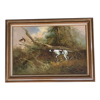 Original Vintage Impressionist Pointer Hunting Pheasant Painting by Listed Chinese Artist C.L.Fong For Sale