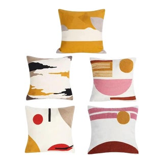 Crewel Embroidery Abstract Throw Pillow Covers - Set of 5 For Sale