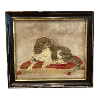 19th Century English Needlepoint King Cavalier Spaniel Portrait For Sale
