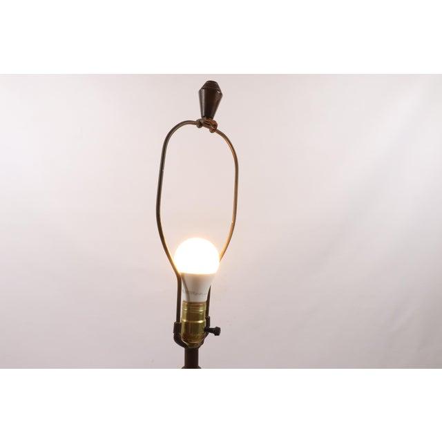 Brown Vintage 1970s Mid Century Modern Striped Ceramic Teak Wood Table Lamp For Sale - Image 8 of 9