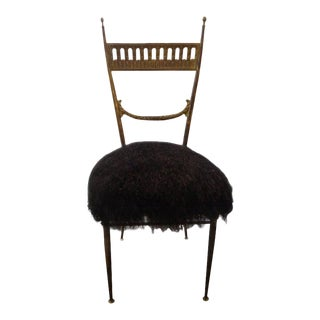 1960's Vintage Italian Brass Chiavari Chair Upholstered in Mongolian Lambs Wool For Sale